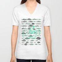 pisces V-neck T-shirts featuring Pisces by Sergi Ferrando
