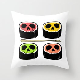 Yummy Kawaii Skull Sushi - What's your flavor? Throw Pillow