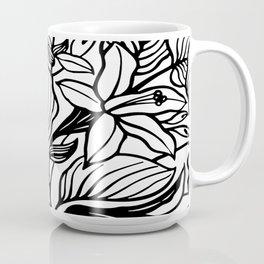 White Black Floral Minimalist Coffee Mug