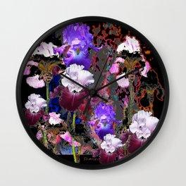 Southwest-western Style PURPLE IRIS GARDEN Wall Clock