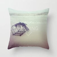 fishing Throw Pillows featuring FISHING by Kath Korth
