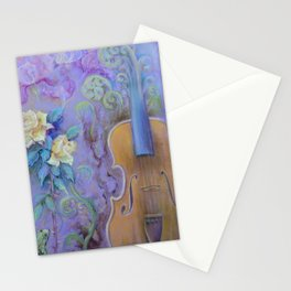 MAGIC VIOLIN Ultraviolet pastel composition inspired by music and farytale Stationery Cards