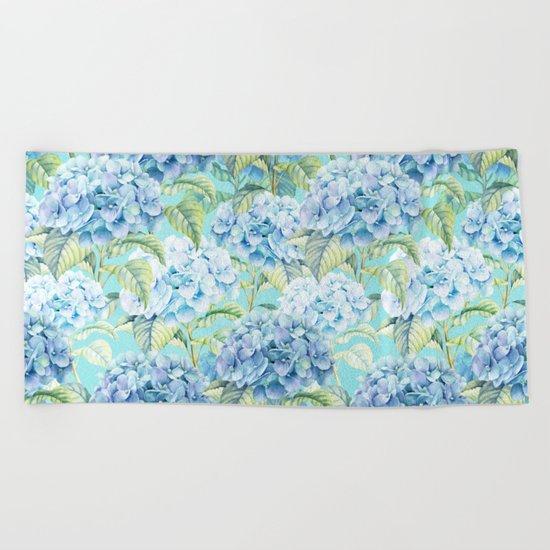 Blue floral hydrangea flower flowers Vintage watercolor pattern Beach Towel
