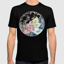 Damask antique floral porcelain china chinoiserie plate of flowers and crane bird vintage photo T-shirt
