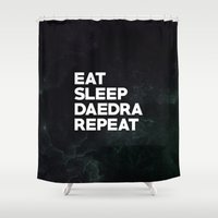 skyrim Shower Curtains featuring Eat Sleep Daedra Repeat by Variable