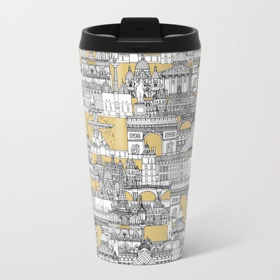 Paris toile gold Metal Travel Mug