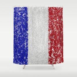 French Flag Splatter Painting Shower Curtain