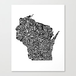 Typographic Wisconsin Canvas Print