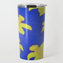 Pop Art Daffodils Blue Travel Mug