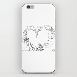 Wrapped in the arms of His love sketch Life of Christ Nativity to Resurrection iPhone Skin