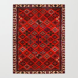 -A30- Red Epic Traditional Moroccan Carpet Design. Poster