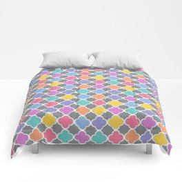 Rainbow & Gray Quatrefoil Comforters