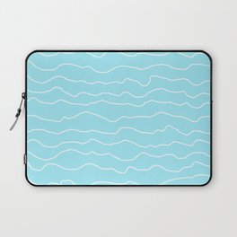 Turquoise with White Squiggly Lines Laptop Sleeve