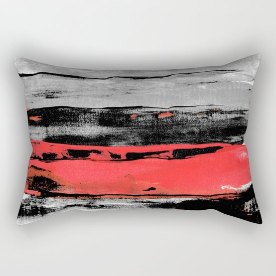 black & red Rectangular Pillow