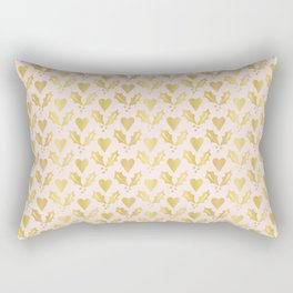 Luxe Rose Gold Foil Christmas Holly Berries Heart Pattern, Seamless Rectangular Pillow