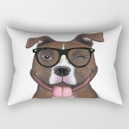 Hipster Pit Bull Rectangular Pillow