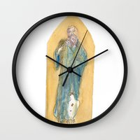 benedict Wall Clocks featuring Saint Benedict by Tricksterbelle Productions