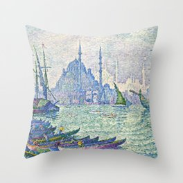 "Paul Signac ""La Corne d'Or, les minarets"" Throw Pillow"