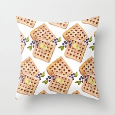 Blueberry Breakfast Waffles Throw Pillow