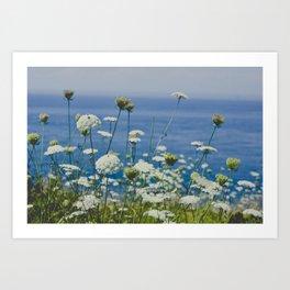 Flowers by the Beautiful Blue Sea Art Print