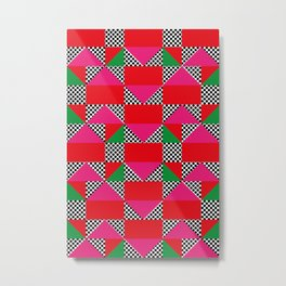 Houses with a Red Body and a Pink Roof, in a dotted synthetic grass. Metal Print