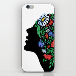 Female head with abstract flowers iPhone Skin