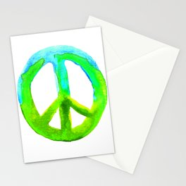 Watercolor Tie Dye Peace Sign Turquoise Lime on White Stationery Cards