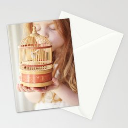 A girl and her bird Stationery Cards