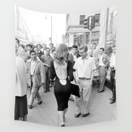 Little Black Dress - Vikki Dougan on the streets of New York in her Backless Dress black and white photograph Wall Tapestry