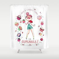 cupcakes Shower Curtains featuring Cupcakes by Meldoodles
