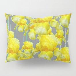 OODLES OF YELLOW IRIS GREY GARDEN ART Pillow Sham