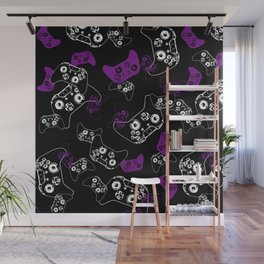 Video Game Purple on Black Wall Mural