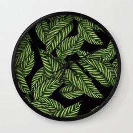 Green & Black Tropical Leaves Pattern Wall Clock