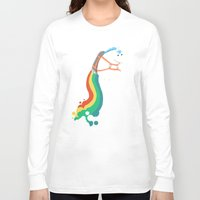 kids Long Sleeve T-shirts featuring Fat Unicorn on Rainbow Jetpack by Picomodi