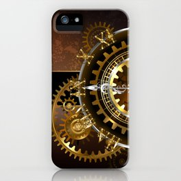 Steampunk Clock with Gears iPhone Case