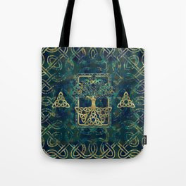 Tree of life - Yggdrasil with Triquetra  symbols Tote Bag