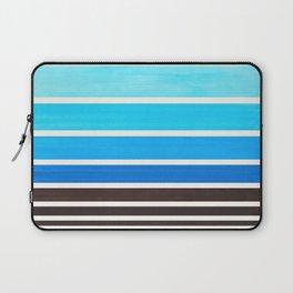 Cerulean Blue Minimalist Watercolor Mid Century Staggered Stripes Rothko Color Block Geometric Art Laptop Sleeve