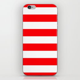 Christmas Red and White Cabana Stripes iPhone Skin