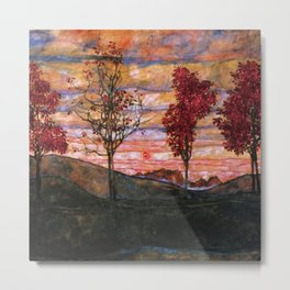 Quatre arbres (Group of Four Trees), Autumn Sunset by Egon Schiele Metal Print