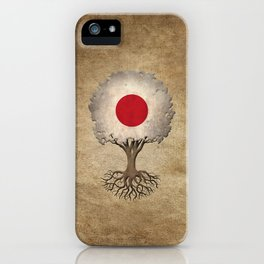 Vintage Tree of Life with Flag of Japan iPhone Case