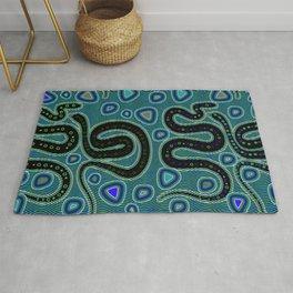 Snake Totem Seamless Blue Tapas Design Rug