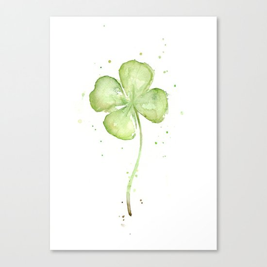 Clover Four Leaf Lucky Charm Green Clovers Canvas Print