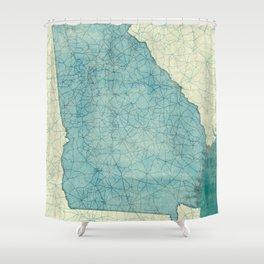 Georgia Map Blue Vintage Shower Curtain