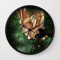loki Wall Clocks featuring Loki by Natalie Nardozza