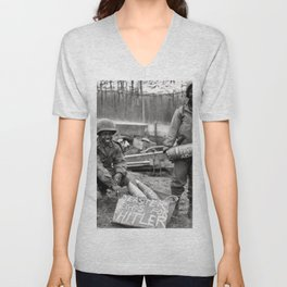 Soldiers in WW2 Unisex V-Neck