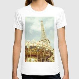 Eiffel Tower & Carousel photography paris T-shirt