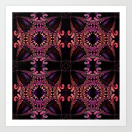 Boujee Boho Medallions in Robust Warm Magenta Art Print