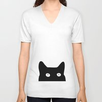 minimalist V-neck T-shirts featuring Black Cat by Good Sense