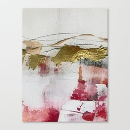 Untranslated Stars: a minimal, abstract piece in gold, pink, and white by Alyssa Hamilton Art Canvas Print