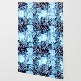 Space Dahlias Blue Ice Wallpaper